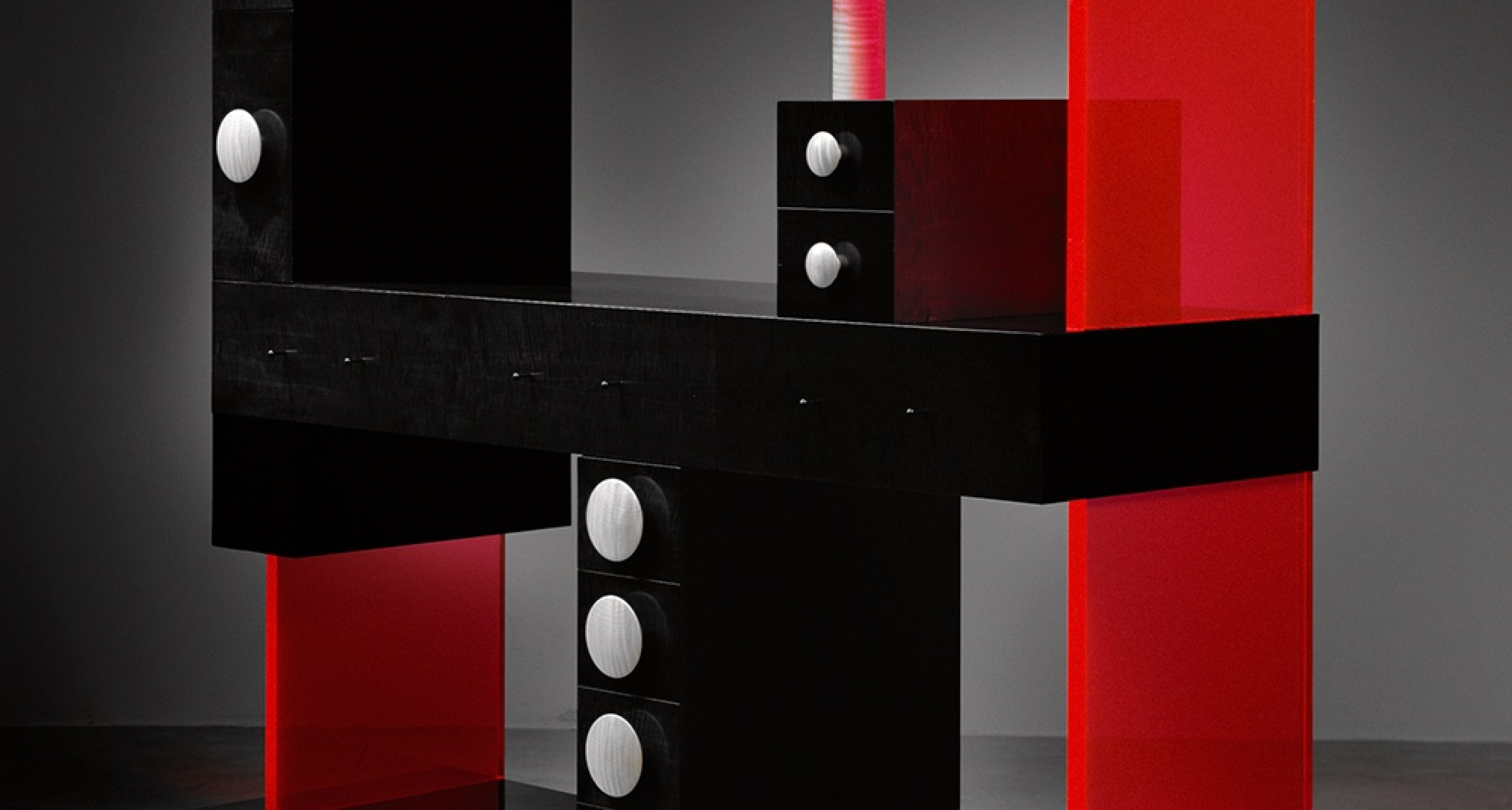Ettore Sottsass (Italian, 1917-2007) Cabinet No. 56 2003 Wood, ebonized pearwood veneer, acrylic 80 1/8 × 82 7/8 × 23 5/8 in. (203.5 × 210.5 × 60 cm) Courtesy of The Gallery Mourmans © Studio Ettore Sottsass Srl