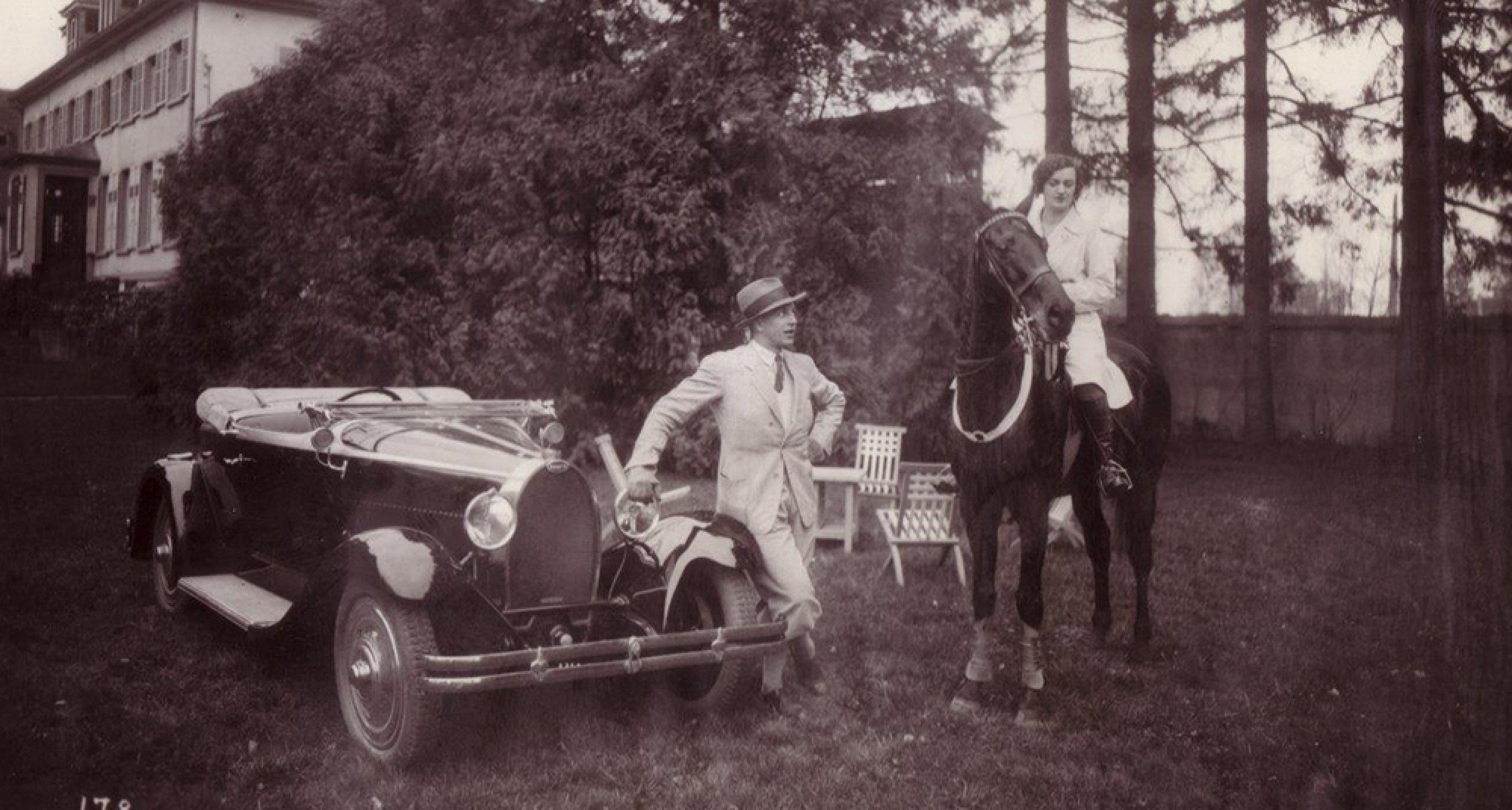 Jean Bugatti with a T40A. © Bugatti archives.