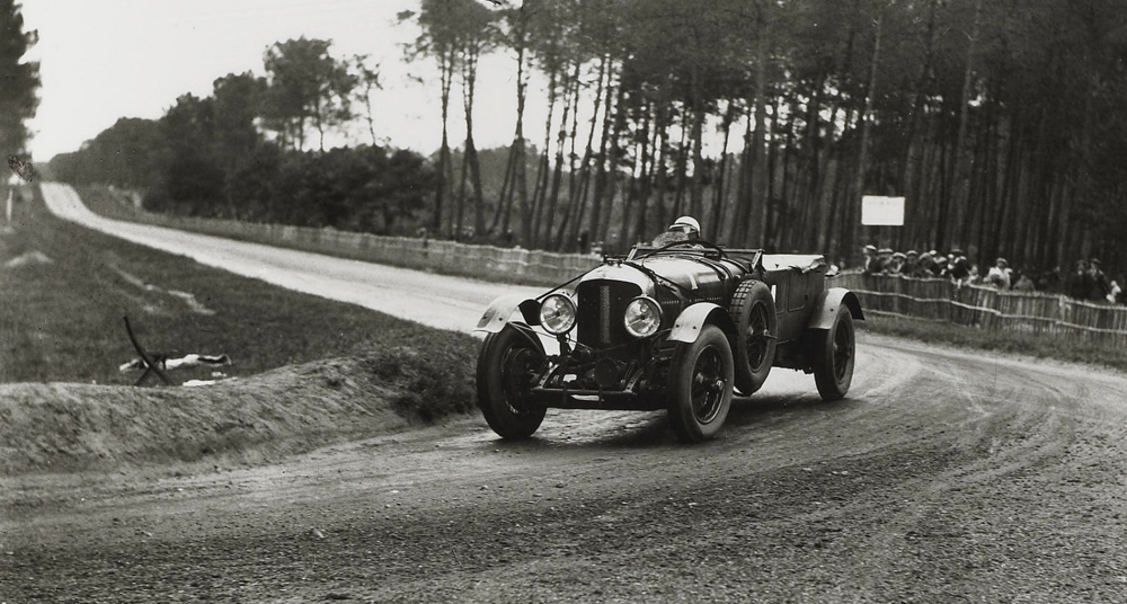 A photograph of Birkin and Barnato's Bentley at Le Mans in 1929, auctioned by Bonhams in 2006.