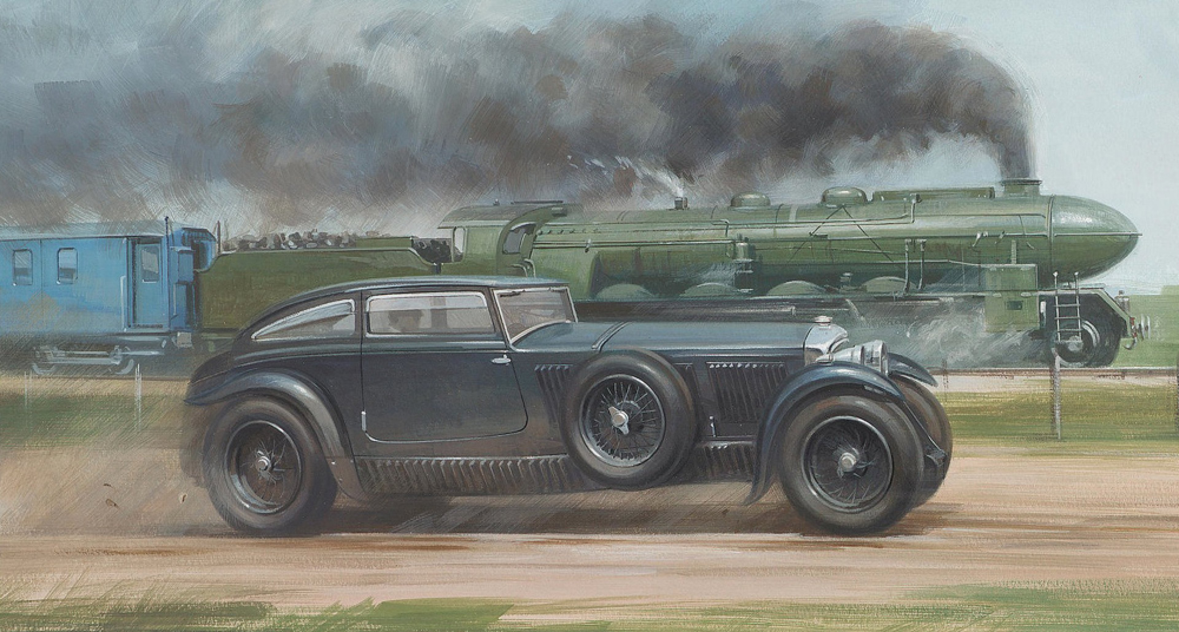 Graham Turner, 'Blue Train Bentley versus Le Train Bleu,'. Auctioned by Bonhams in 2004.
