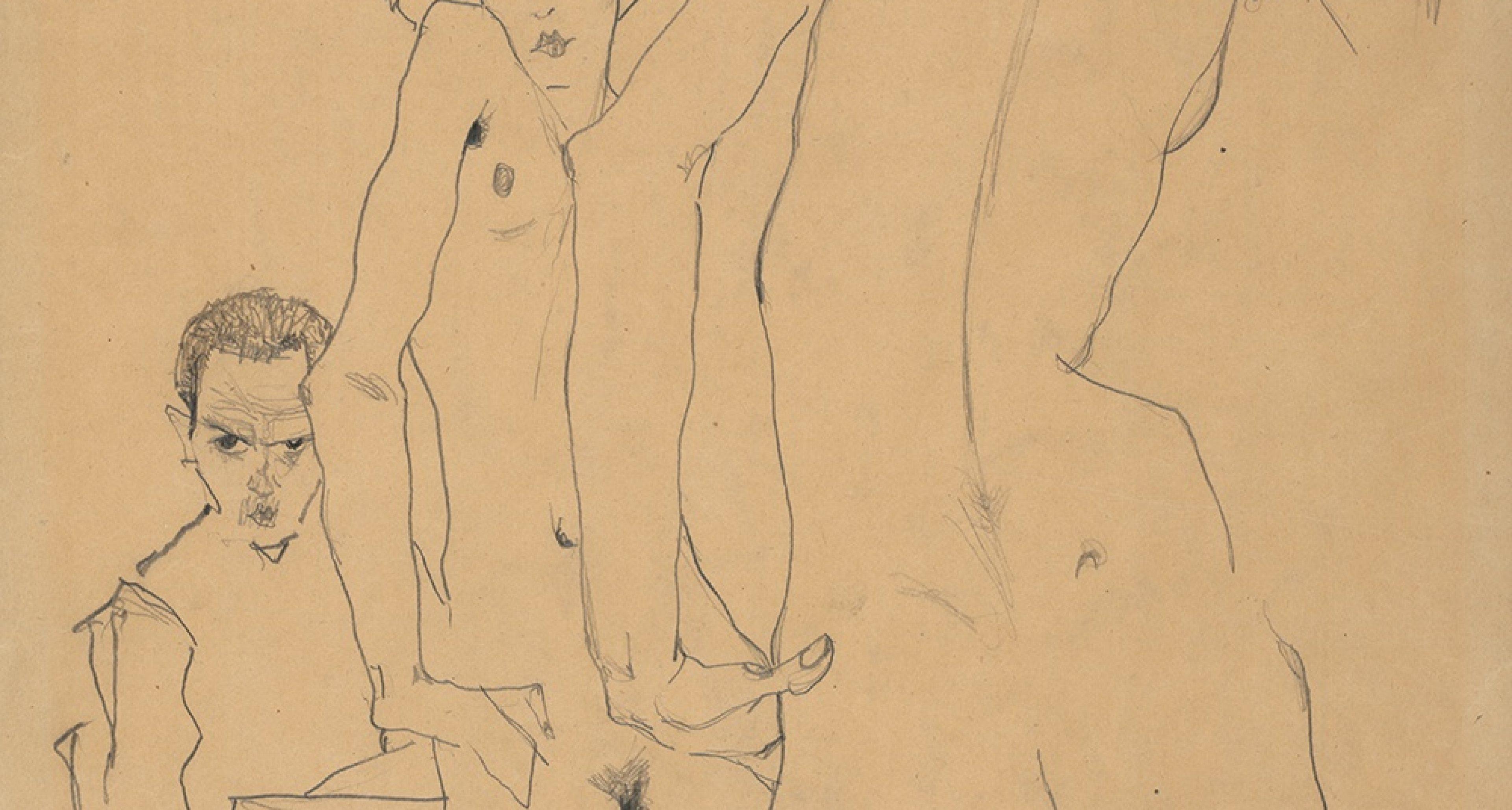 Schiele, ein Aktmodell vor dem Spiegel zeichnend, 1910 Wien, Albertina