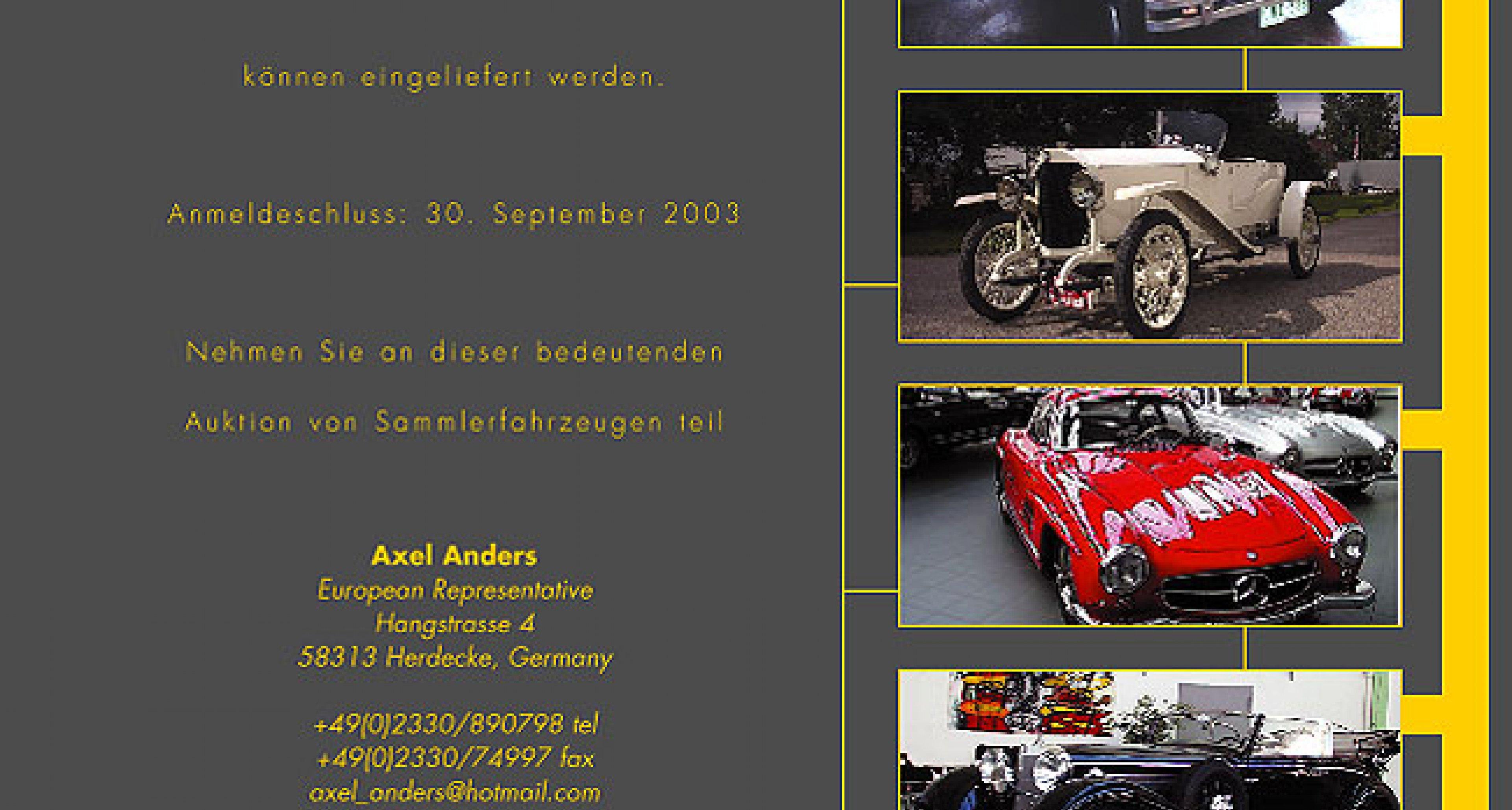 "Preview - Kruse International auction in the ""Meilenwerk"" in Berlin - 8th Nov 2003"