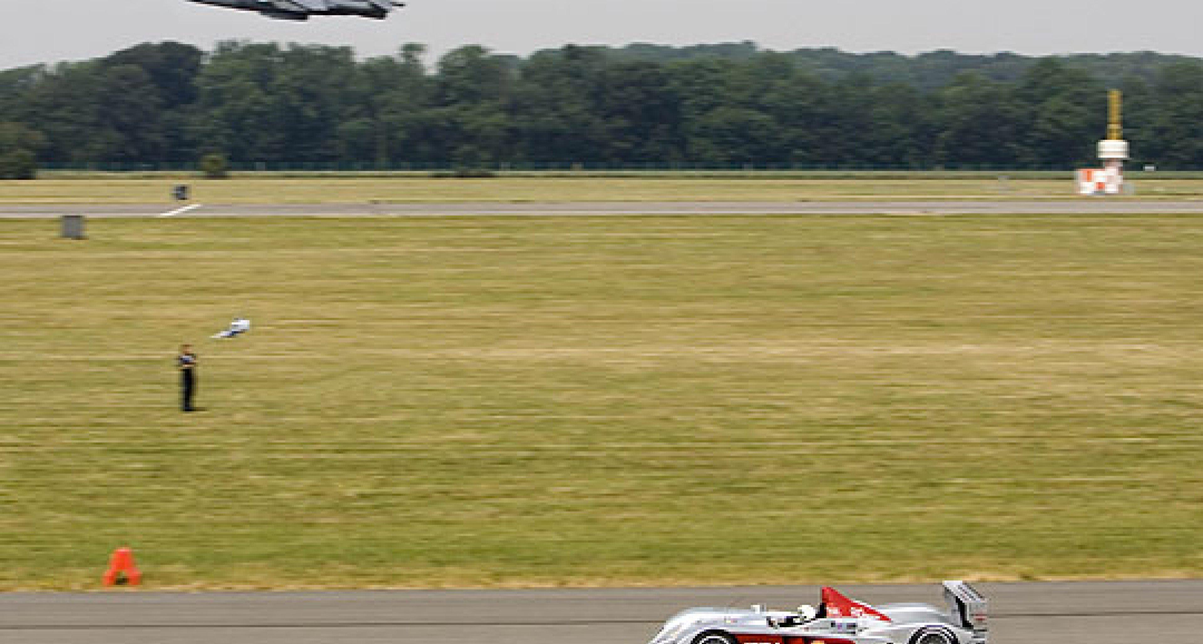 Jet fighter beats diesel Audi...