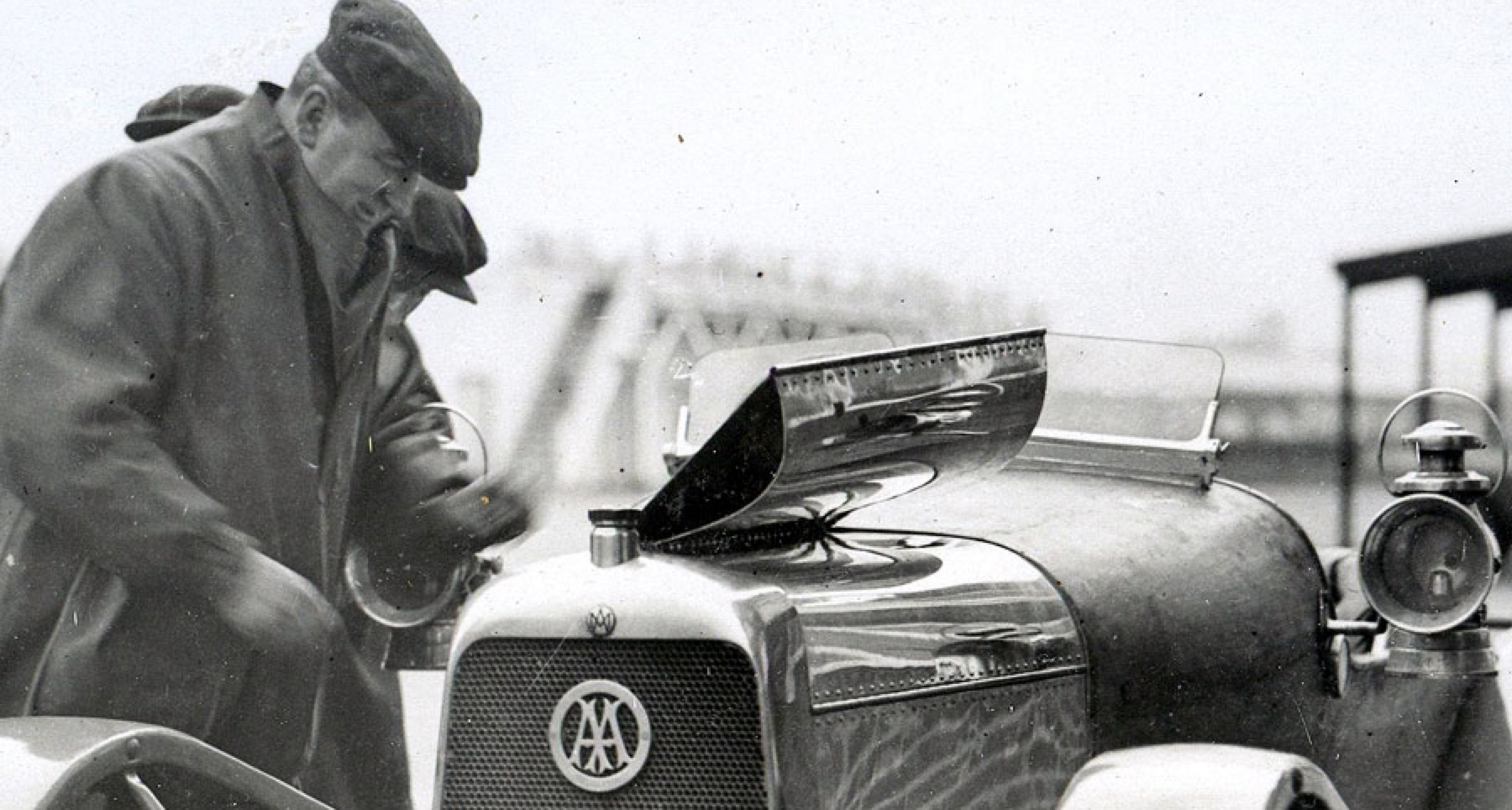 Lionel Martin inspects his car